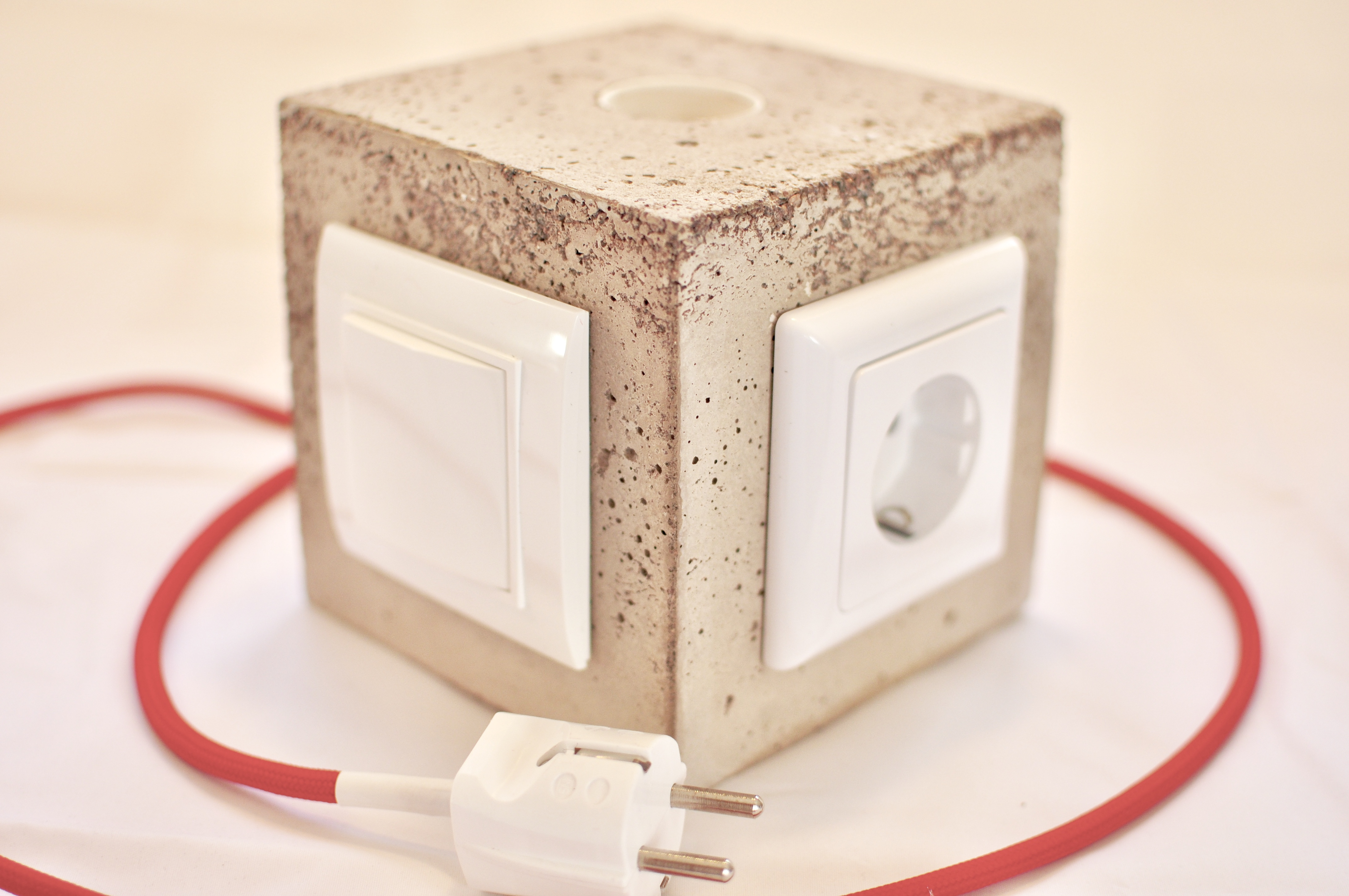 Diy Concrete Lamp With Switch And Power Outlet Kreuz Qwertz